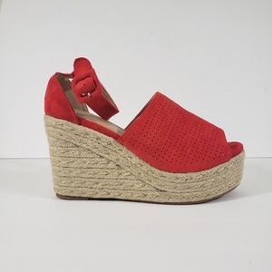 You and Me Ankle Straps Espadrilles Wedges Size 11